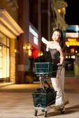 A happy asian woman shopping with shopping center background — 图库照片