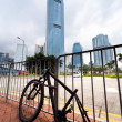 Stripped bicycle after it was left unattended locked to a pole in an urban area in HongKong. — Stock Photo #68945289