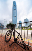 Stripped bicycle after it was left unattended locked to a pole in an urban area in HongKong. — Stock Photo