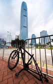 Stripped bicycle after it was left unattended locked to a pole in an urban area in HongKong. — Foto de Stock