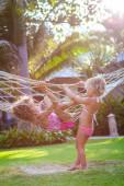 Kids in hammock — Stock Photo