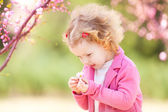 Beautiful baby girl in blooming jasmin tree branches — Stock Photo