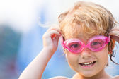 Shot of girl with swimming goggles — Stockfoto