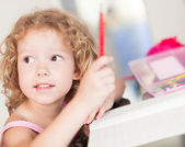 First grader in a classroom — Stock Photo