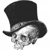 Top Hat Skull Illustration — Stock Vector