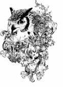 Floral Owl Vector Illustration — Stock Vector