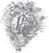 Tiger Floral Illustration — Stock Vector