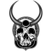 Horned Skull Illustration — Stock Vector
