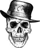 Pimp Skull Illustration — Stock Vector