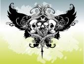 Winged Skulls Illustration — Stockvector