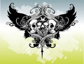 Winged Skulls Illustration — Vector de stock