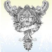 Clockwork Skull Illustration — Stock Vector