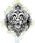 Warrior Skull Illustration — Stockvektor