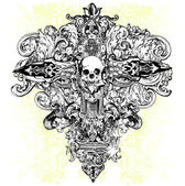 Skull Cross Illustration — Vector de stock