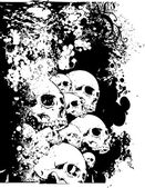 Wall of Skulls Illustration — Stock Vector