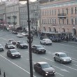 Top view of the street, passing cars and people — Stock Video #74043591