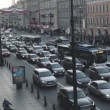 Top view of the street, passing cars and people — Stock Video #74044799