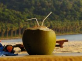 Coconut in the beach — Stock Photo