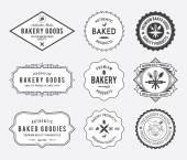 Bakery goods badges black and white — Stock Vector