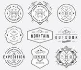 Mountain exploration black on white — Stock Vector