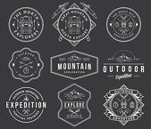 Mountain exploration white on black — Stock Vector