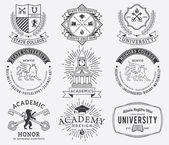 College and University badges 2 Black on White — Vetor de Stock