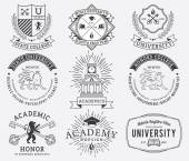 College and University badges 2 Black on White — Stockvektor