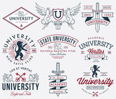 College and University badges colored — Stockvektor