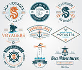 Sea Badges colored — Stock Vector
