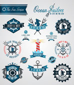 Ocean sailors badges and crests — Stock Vector