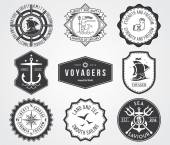 Sea Badges 2 BW — Stock Vector
