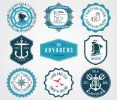 Insignias de mar 2 coloreadas — Vector de stock