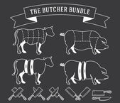 The butcher bundle white on black — Stock Vector