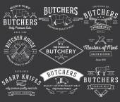 The butcher bundle 2 white on black — Stock Vector