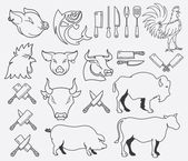 Vector farm animal bundle — Stockvektor