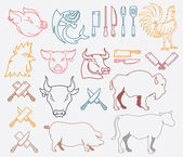 Vector farm animal bundle colored — Stockvektor