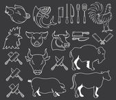 Vector farm animal bundle white on black — Stock Vector