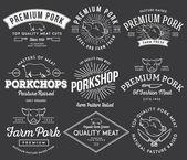 Premium pork meat white on black — Wektor stockowy