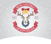 Christmas greeting card with deer — Stock Vector
