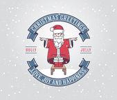 Christmas greeting card with santa claus boy — Stock Vector