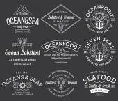 Seafood labels and badges vol. 3 white on black — Stock Vector
