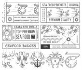 Seafood labels and badges vol. 4 black on white — Stock Vector