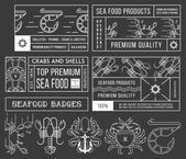 Seafood labels and badges vol. 4 white on black — Stock Vector