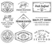Seafood labels and badges vol. 1 black on white — Stock Vector
