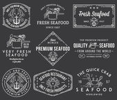Seafood labels and badges vol. 1 white on black — Stock Vector