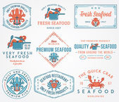 Seafood labels and badges vol. 1 colored — Stock Vector