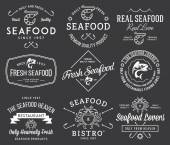 Seafood labels and badges Vol. 2 white on black — Stock Vector