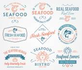 Seafood labels and badges vol. 2 colored — Stock Vector