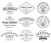 Seafood labels and badges vol. 3 black on white — Stock Vector