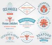 Seafood labels and badges vol. 3 colored — Stock Vector